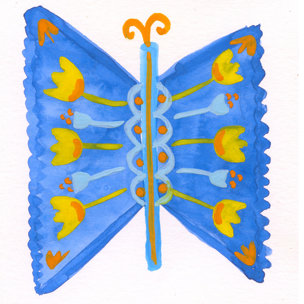 tammie bennett's blue folk butterfly for #DOZENdozen, her monthly art project