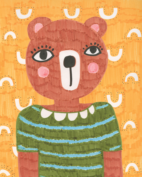 ©tammiebennett bears wear green shirt illustration