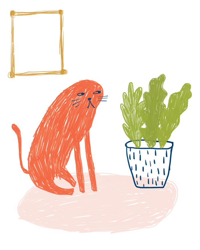 houseplant + cat illustration - personal work