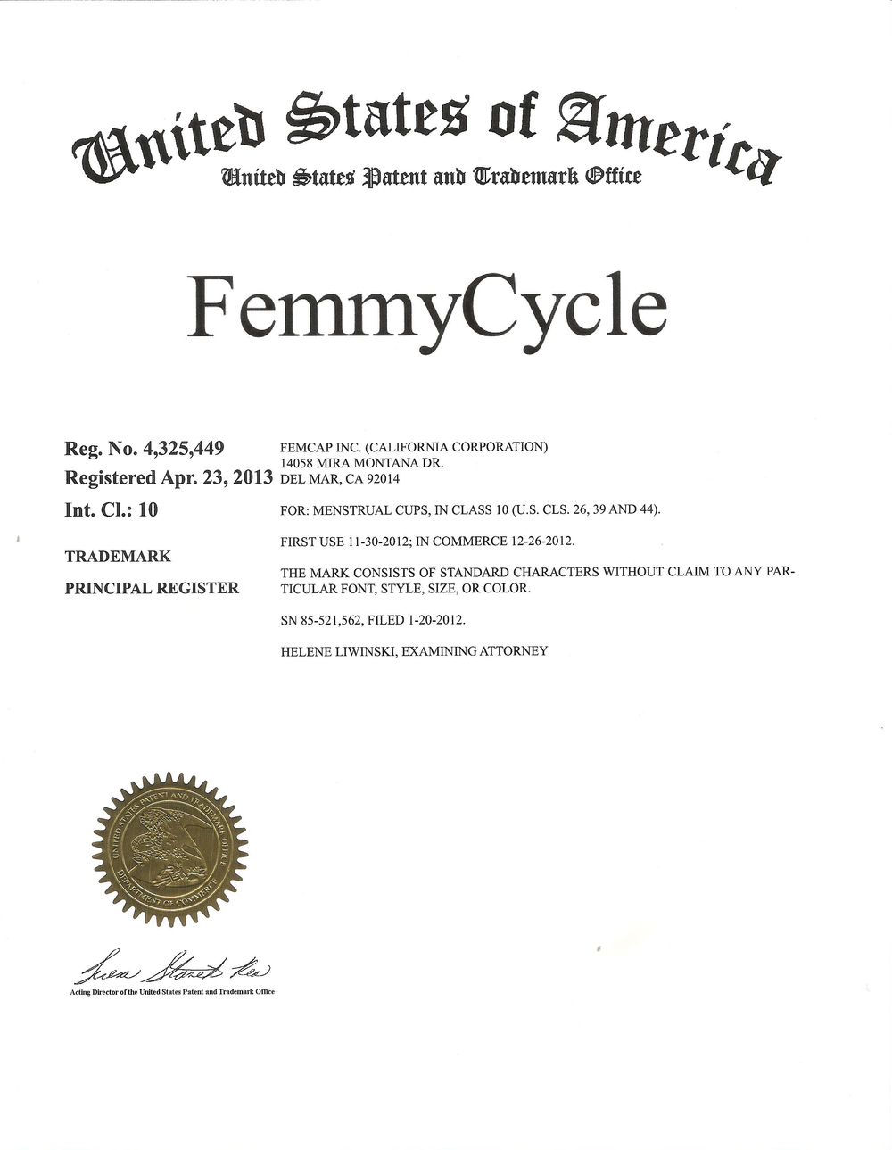 Патент ФеммиЦикл® 2013, США