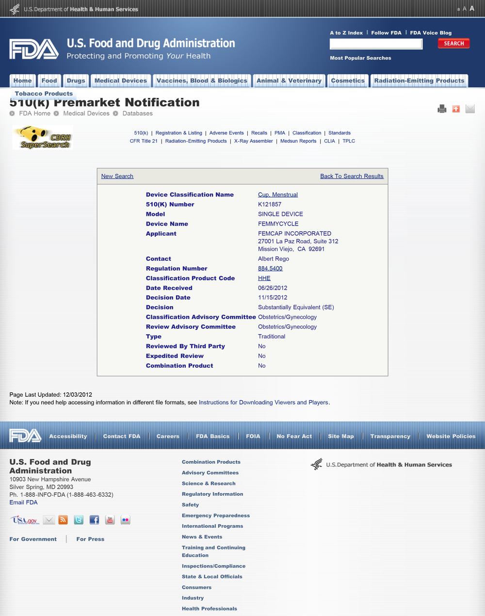 Подтверждение ФеммиЦикл® Американской Администрацией Пищевых Продуктов и Лекарств (FDA) 2012, США