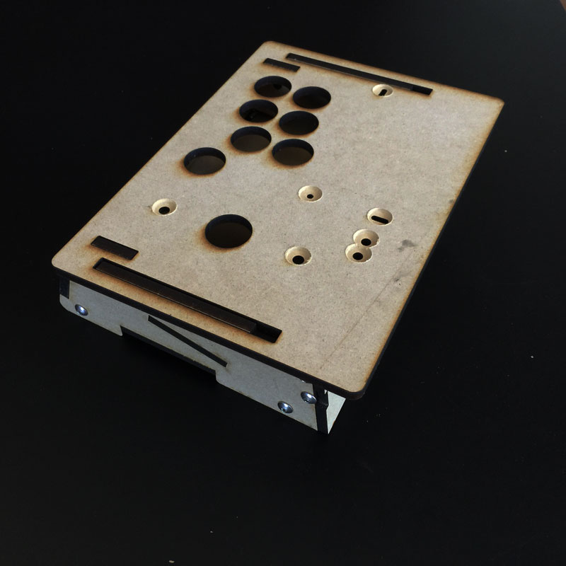 Frame measures 9.75 x 7 x 2.75 and was designed for the smaller 24mm arcade buttons. We can custom design one for you here:  GameThing Shop