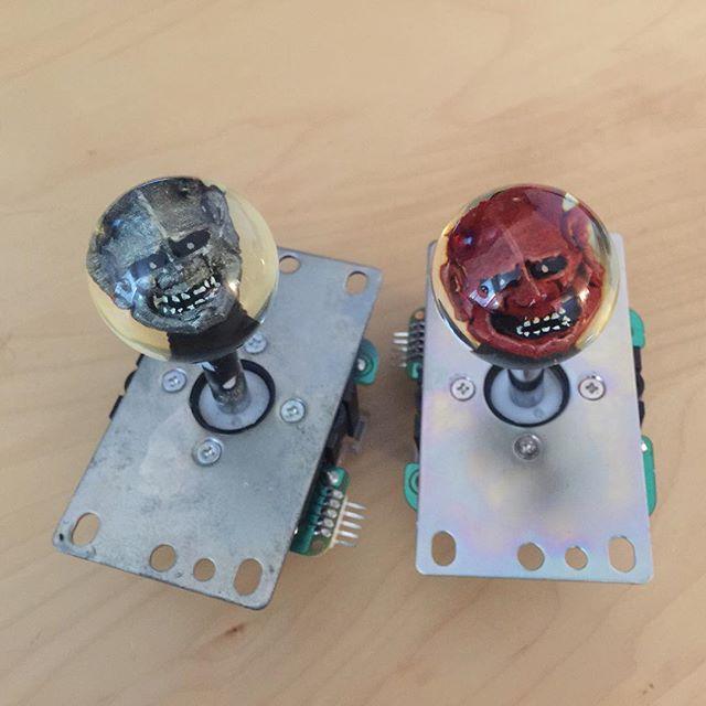 Finished set, ready for install. I cannot wait to see the joystick LED shaft light these up!!!! Custom ball tops @ 👉www.cuddleburrito.com  #custom #hannyamask #balltop #joystick #arcade #arcadegames #arcadecabinet #retrogamer #gamerlife #arcades #maker #90svideogames #joysticks #guwange