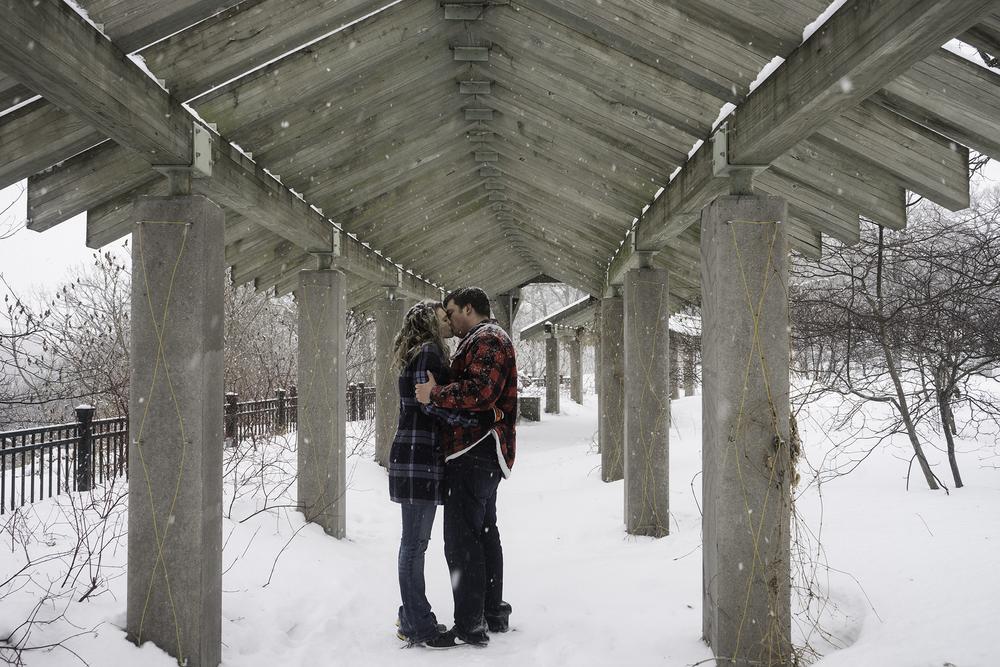 Snow Kiss with Marlyssa at Minnehaha Falls
