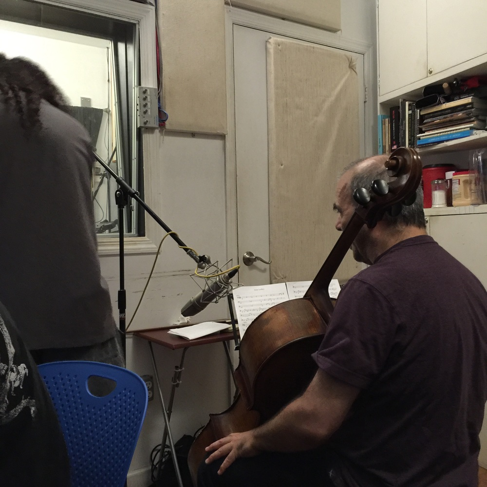 Recording cello in the control room
