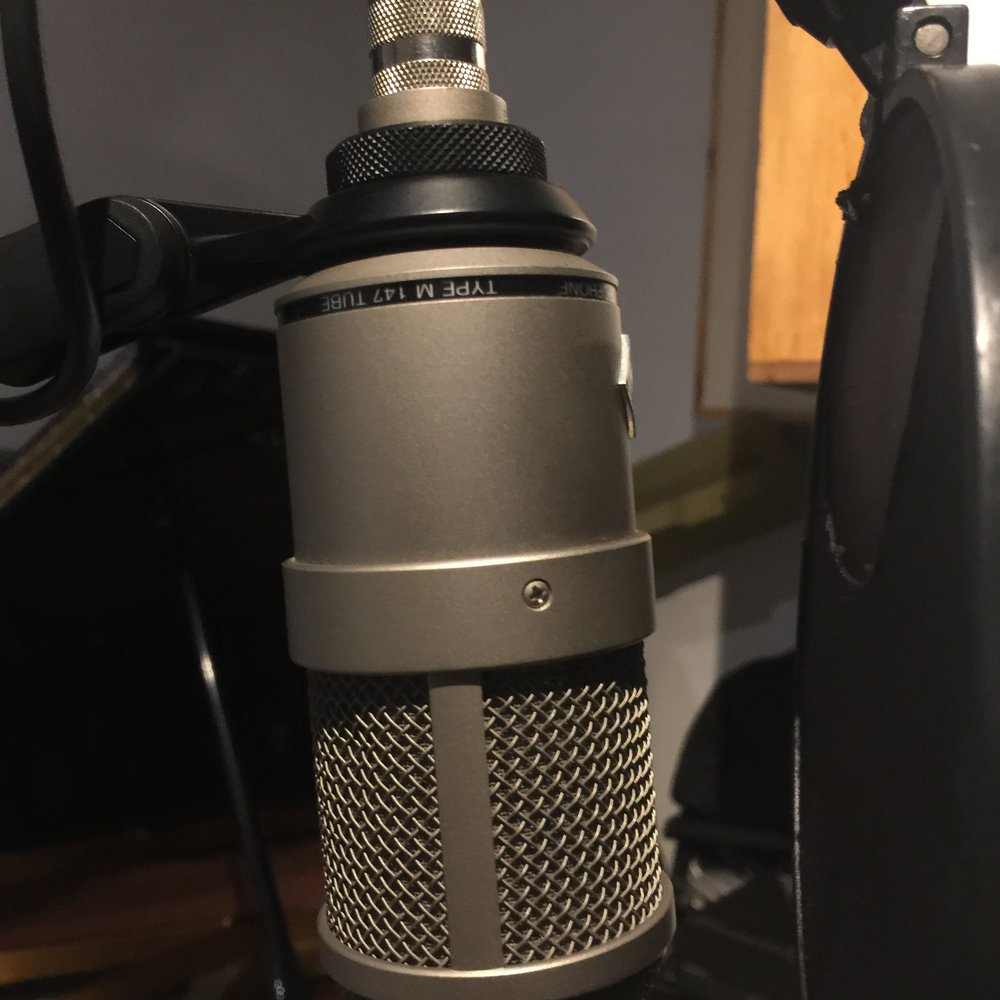Recorded vocals of engineer Kamilo Kratc.with a  Neumann M147 tube mic in the piano room. The patching went to the piano room patch bay 12 to Avalon 747sp
