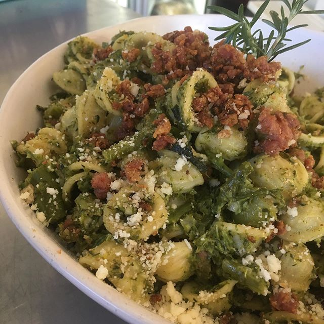 Orecchiette with broccoli and crispy Italian pork and fennel sausage. Really, really yum