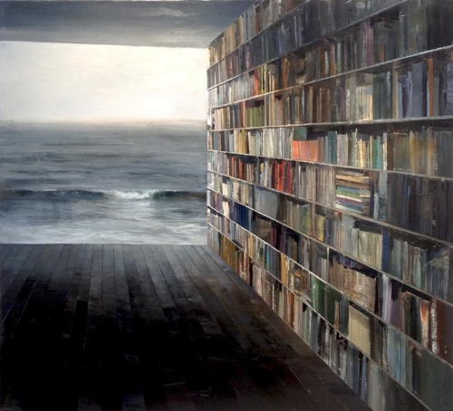 Jeremy Miranda, Library with Grey Sea (oil on canvas)
