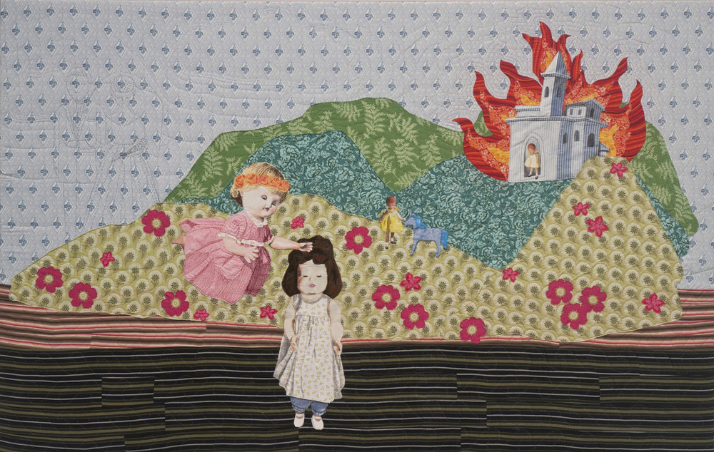 Julie Farstad, The World Afire (fabric, thread, embroidery floss)