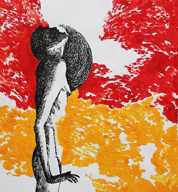 Tayfun Gülnar , In Flames (gouache and ink)