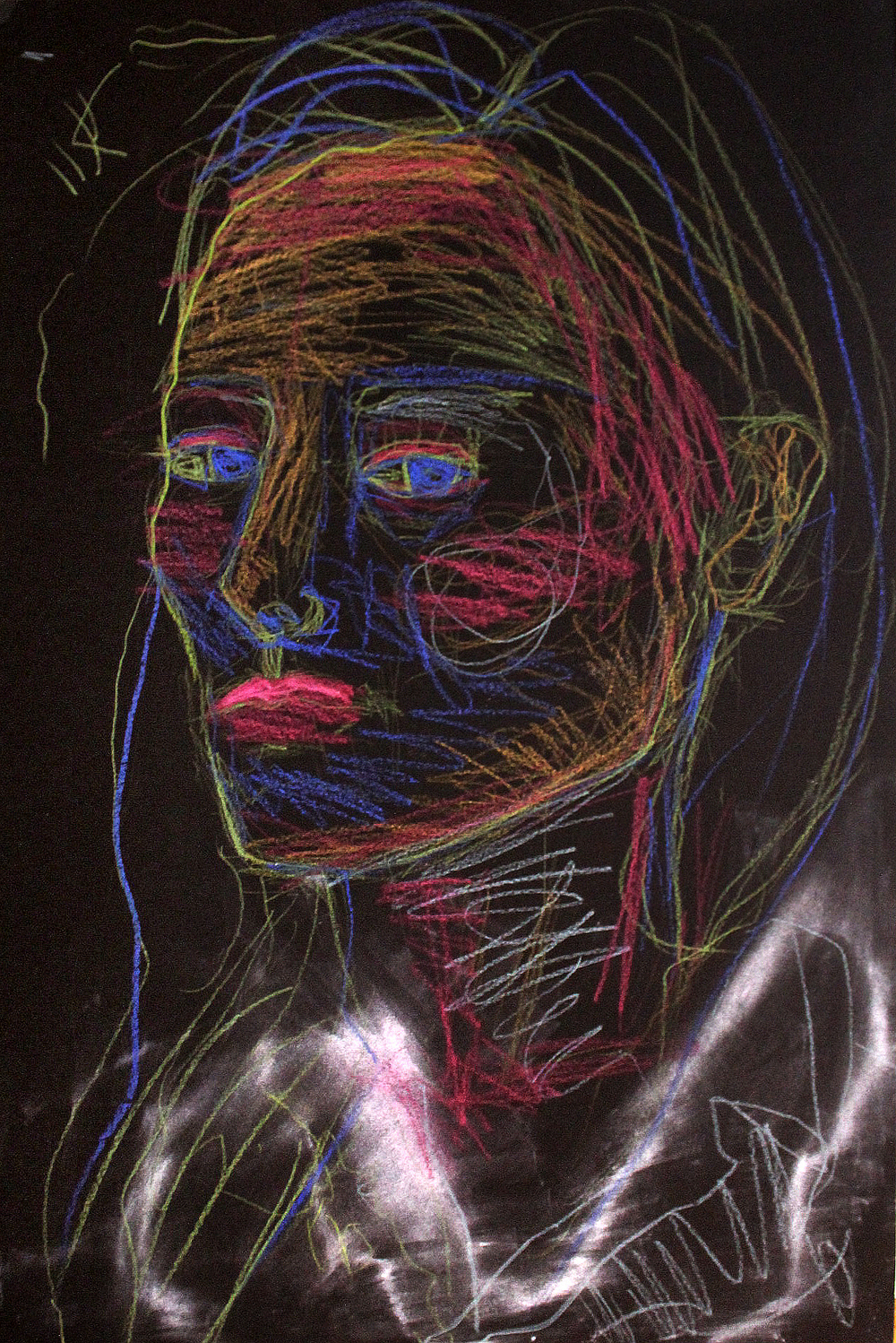 Brooke Vertin, Electric Contour, Self-Portrait (pastel on black paper)