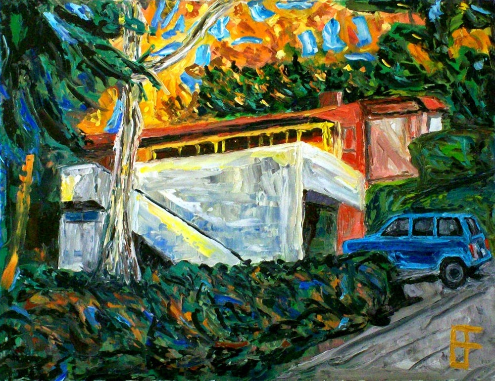 Allen Forrest  ,  Palos Verdes, CA, House    (oil on canvas panel)