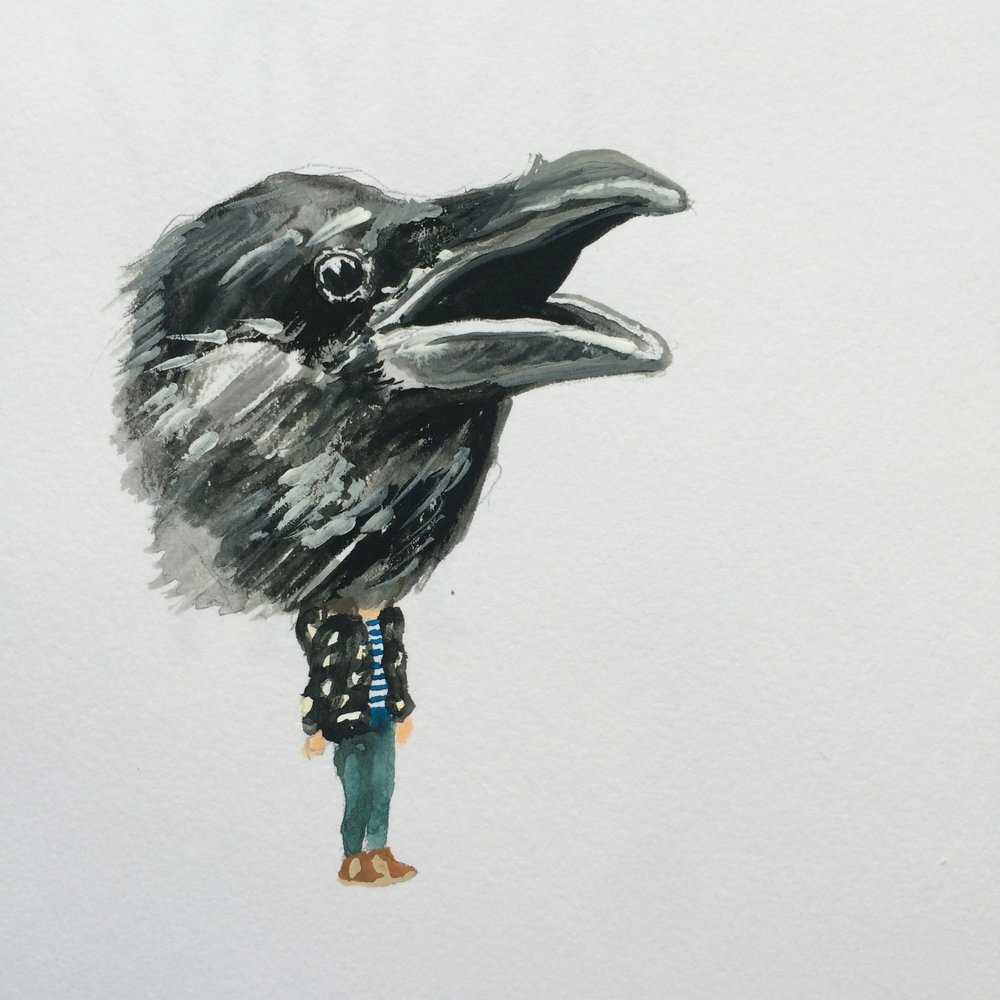 Carrie DeBacker, Corvus (gouache on paper)