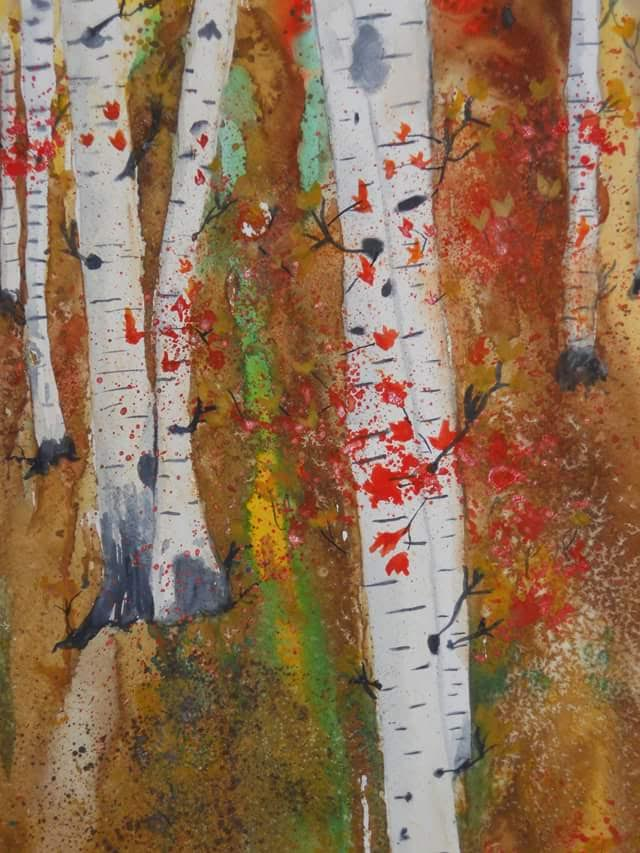 Joyce Hayden, Fall Birches (watercolor)