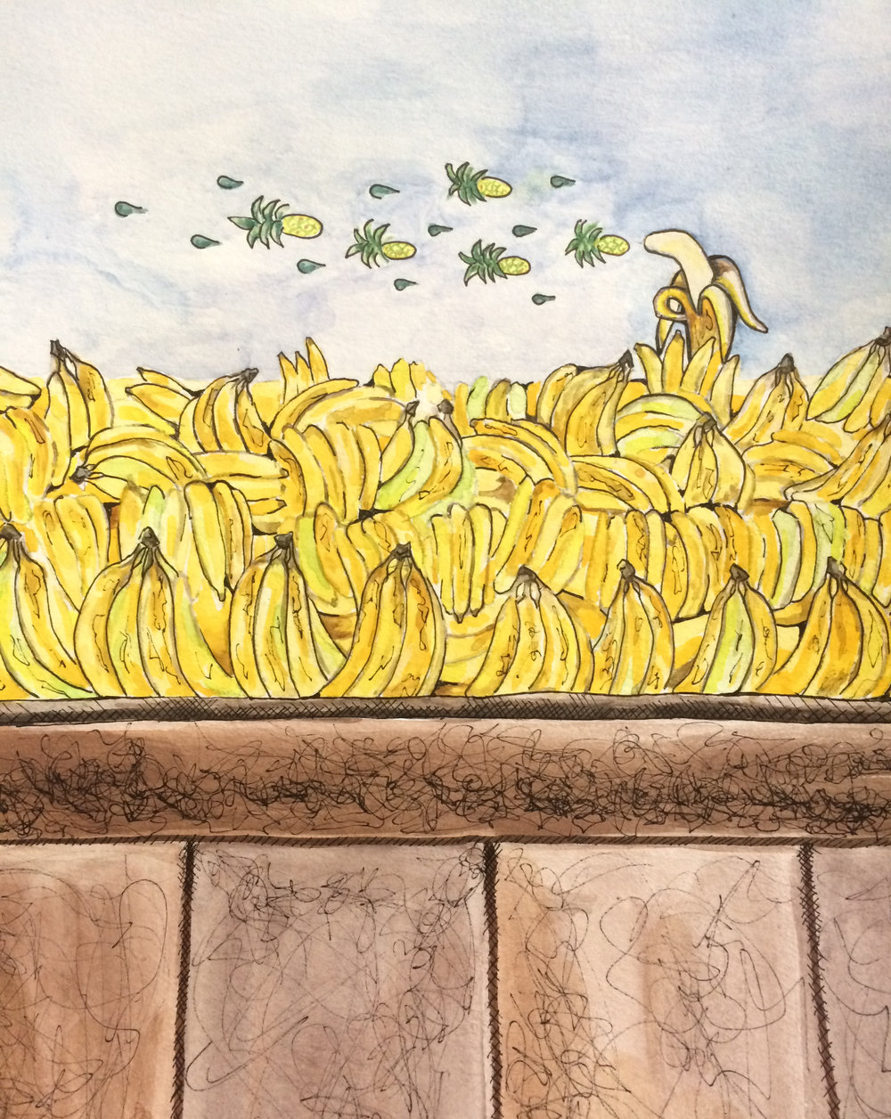 Deanna Dorangrichia, Banana Bullets and Pineapple Grenades (gouache on paper)