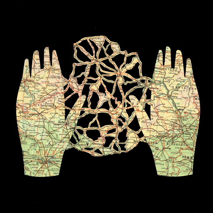 Shannon Rankin ,  Anatomy Series (Hands) , 2008 (map on paper)