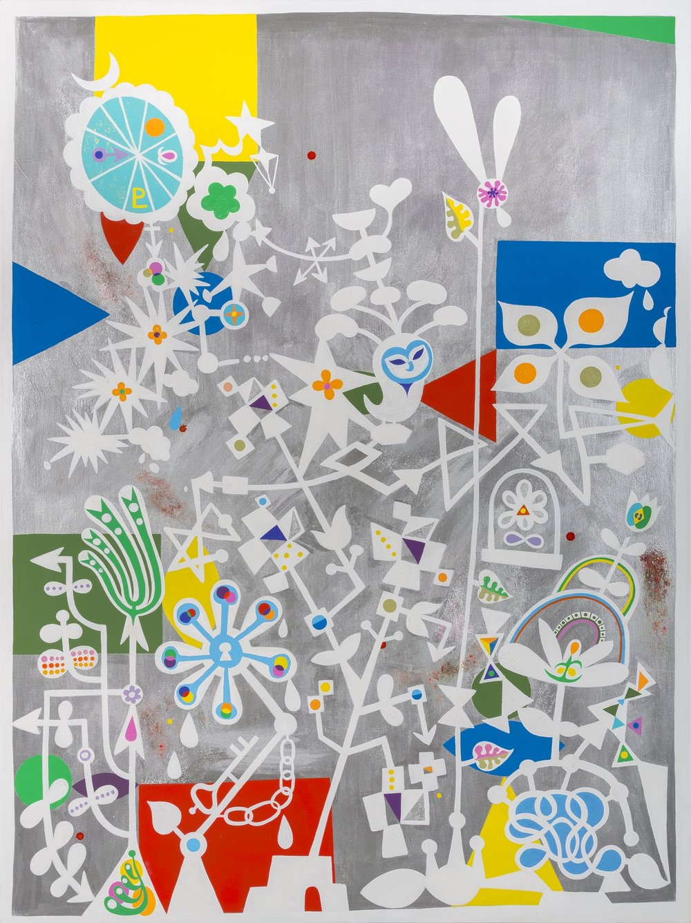 Jovi Schnell, The Late Bloomers (acrylic flashe, and cell vinyl on canvas), 2014