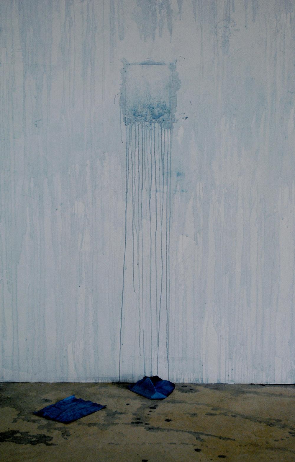 Sonja Dahl and Jovencio de la Paz,Egress, 2012(indigo dye, paper, room)