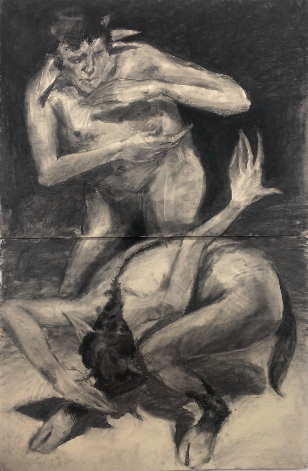 Matthew Bergey ,  Satyrs Dancers    Charcoal on stonehenge paper