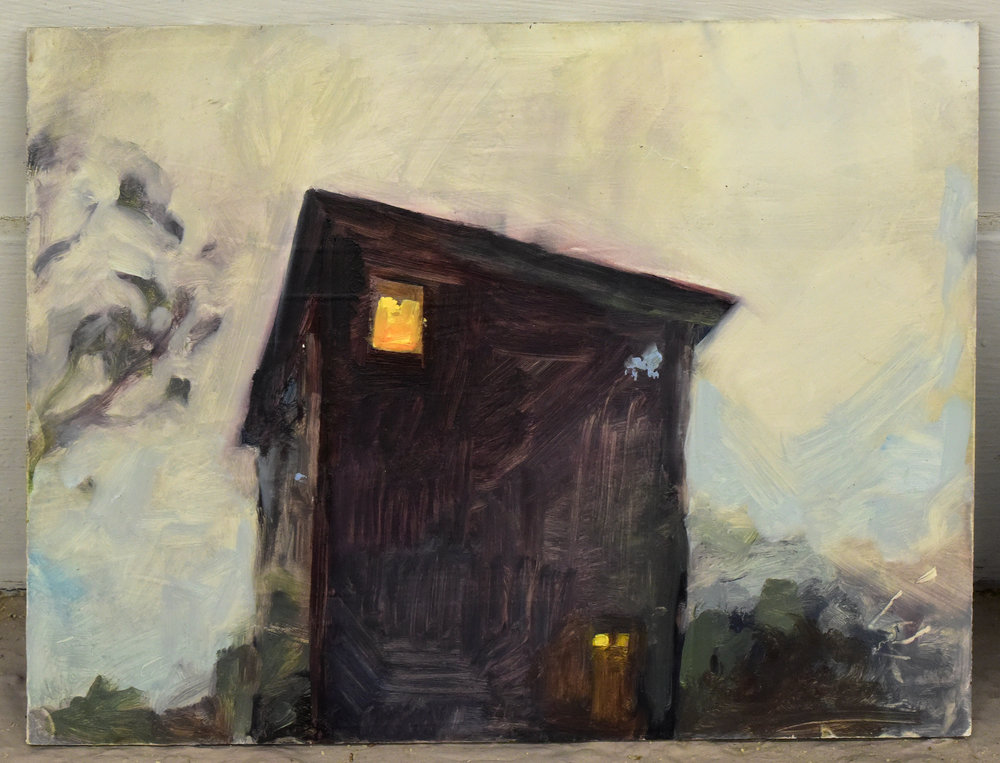 """Matthew Bergey ,  House , 2016 Oil on Gesso board 11 x 8"""""""