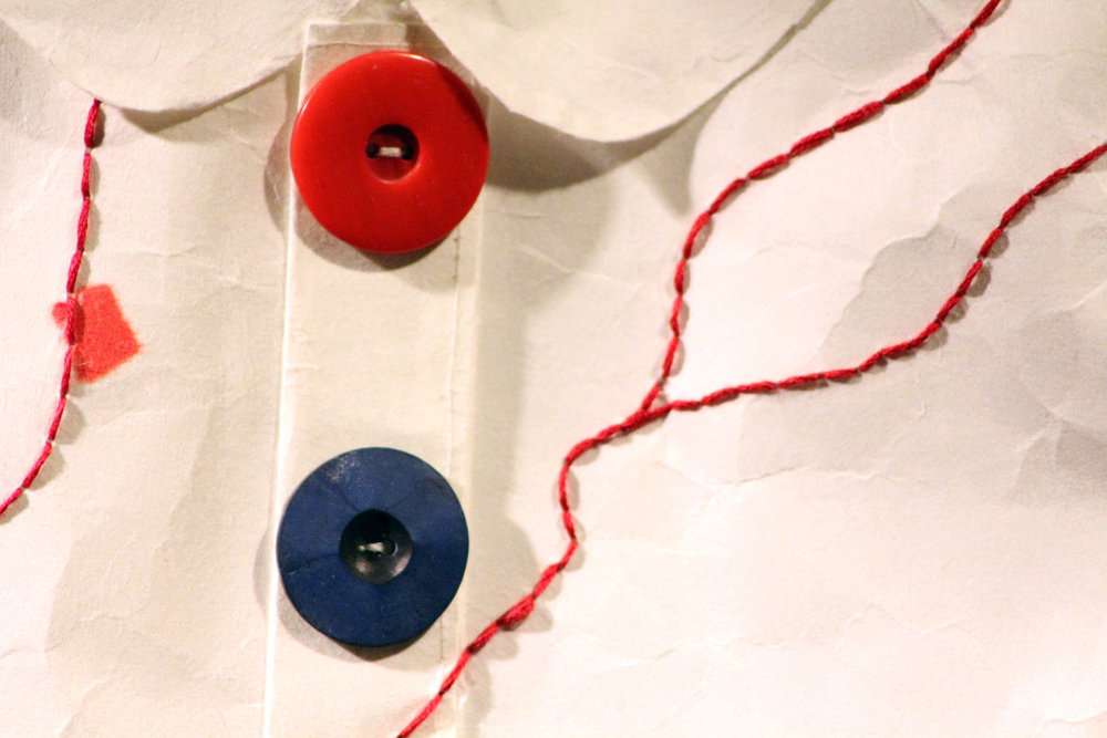 Emily Chase ,  1,855 Miles  (Detail), 2014 ( Artist Website ) Japanese paper, alcohol marker, thread, ink, embroidery floss