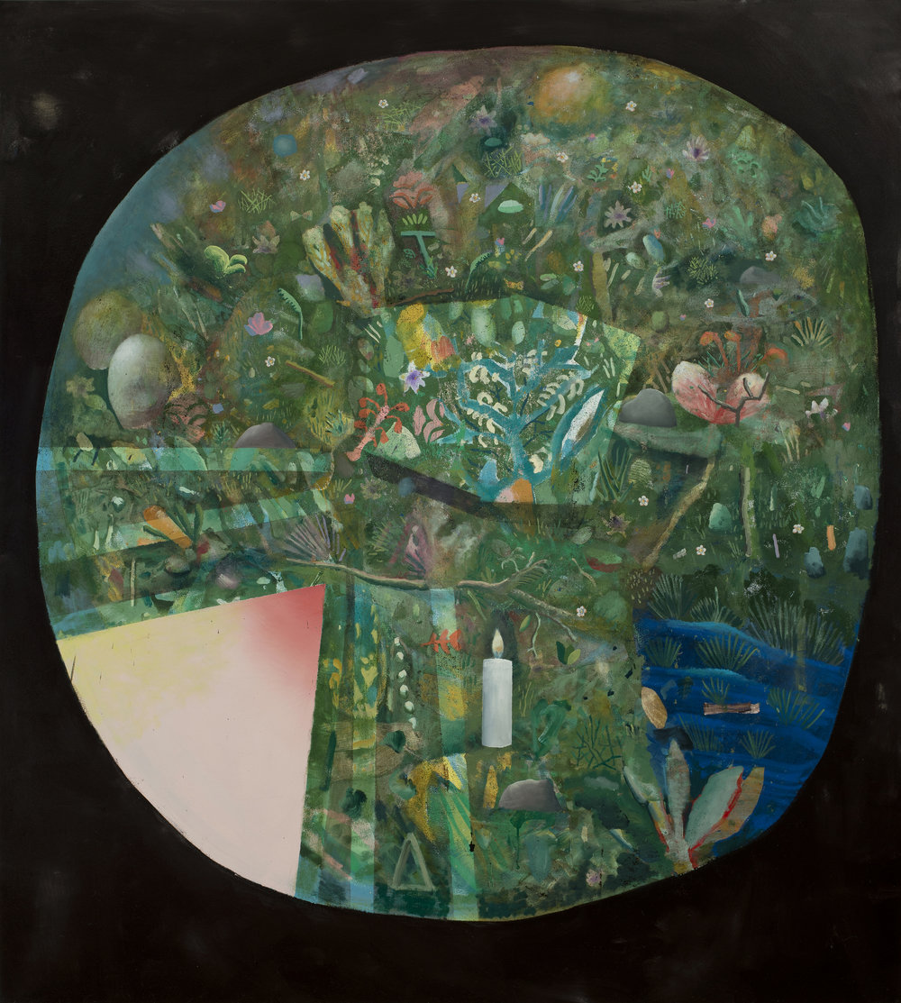 "David LaFrance ,  Faire Pousser , 2014 ( Artist Website ,  Gallery Website ) Oil on canvas 84"" x 72"""