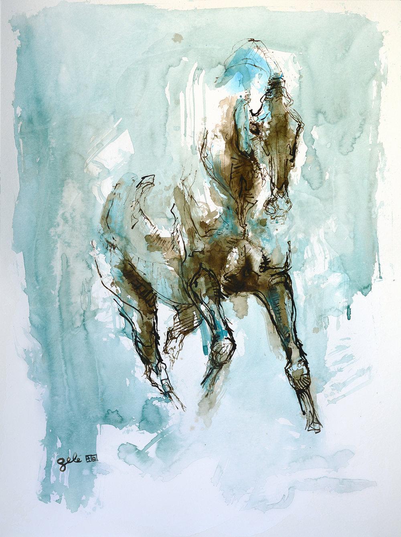 Bénédicte Gelé ,  Nu Equin 2A  ( Artist Website ,  Etsy ) Watercolor on paper