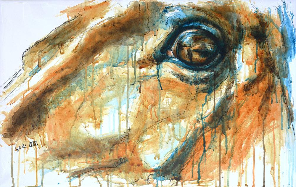 Bénédicte Gelé ,  Regard XIX  ( Artist Website ,  Etsy ) Watercolor on paper