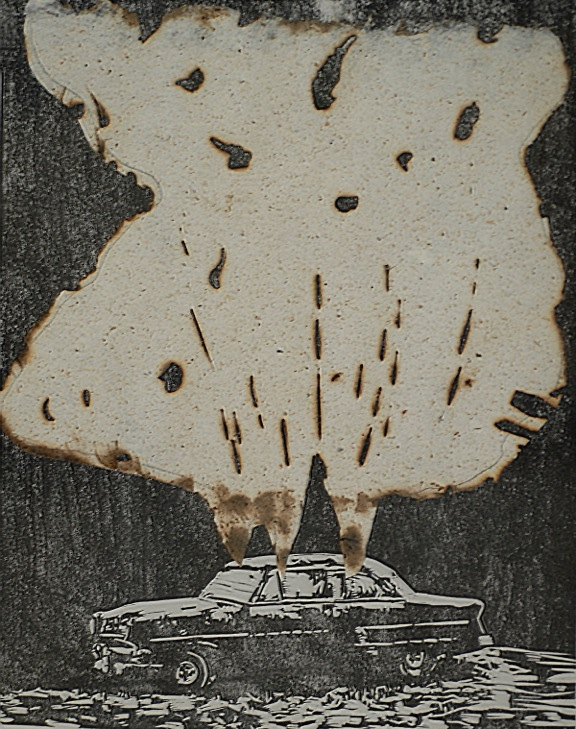 Hannah Craig and Jean A. Kirby ,  Abandoned Car,  2018 ( Artist's Instagram )  Linoleum relief block print with burned paper collage  8 x 10""