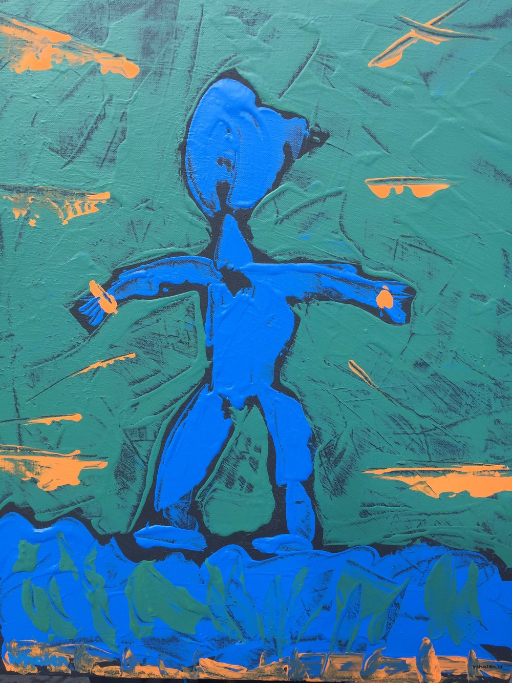 John Whalen ,  Blue Man, Morning  Acrylic on canvas