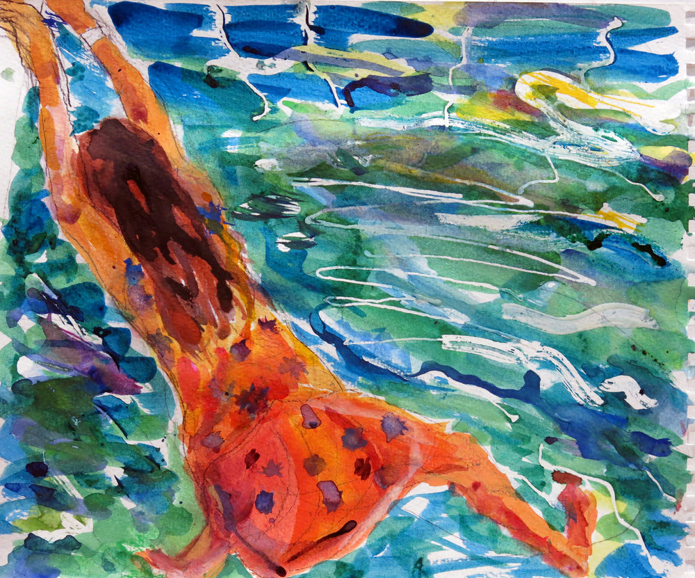 "Pamela Lawton ,  Mai Tai Sun , 2019 ( Artist Website ) Ink, gouache and watercolor on paper 11"" x 13.5"""