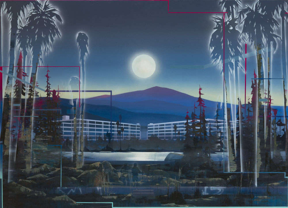 "Robert Minervini ,  Contemplating The Moon,  2015 ( Artist Website )  Acrylic on canvas, 52"" x 76"""