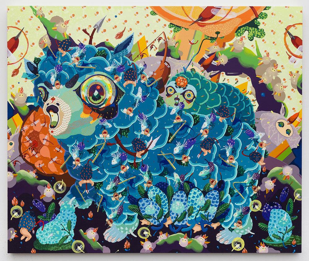 "Mi Ju ,  Blue Sheep , 2015 ( Artist Website ) Acrylic on canvas, cut out paper, thread 42 x 50"""