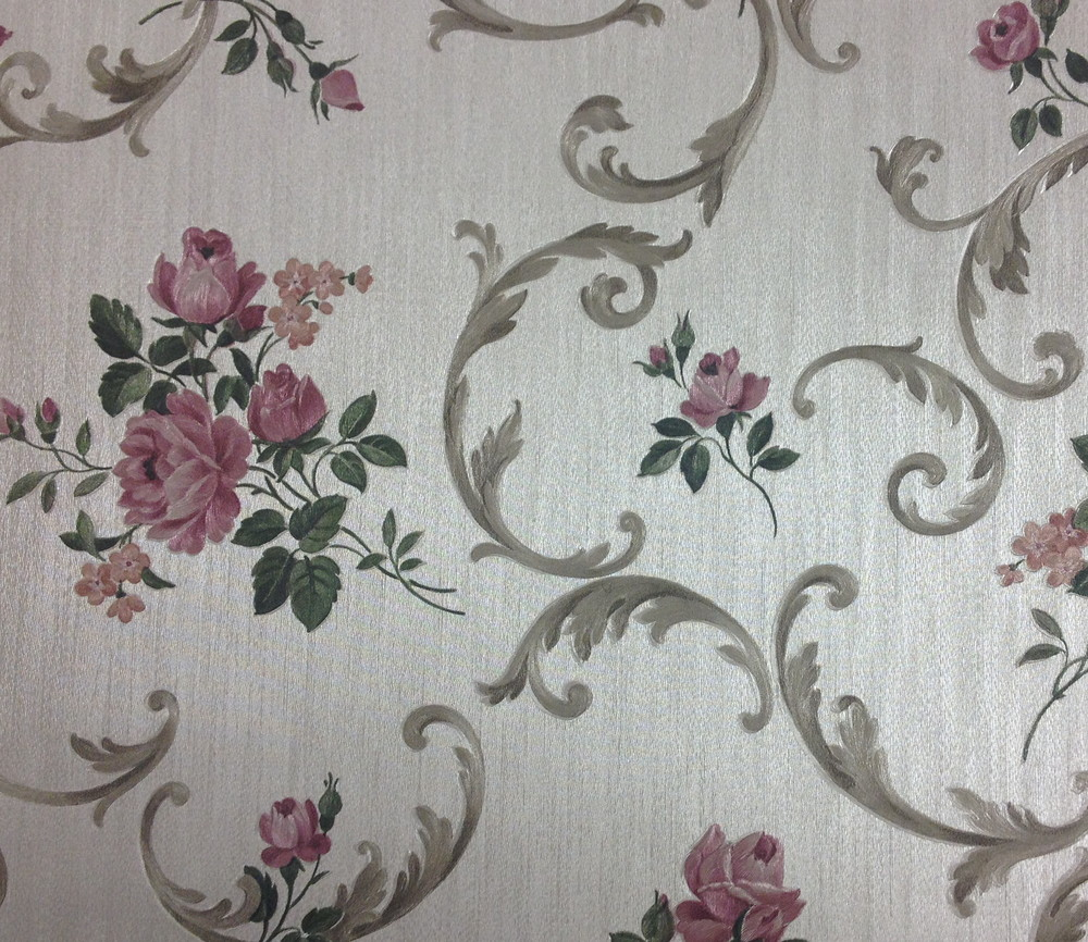 The old vinyl, floral wallpaper of days gone by