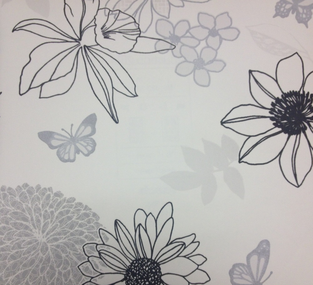 A more subtle, achromatic, floral wallpaper