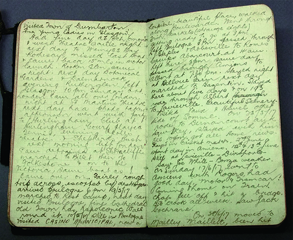 Diary kept by Frank Moses in the Middle East and France 1915-1918    On loan from Tim Westle y