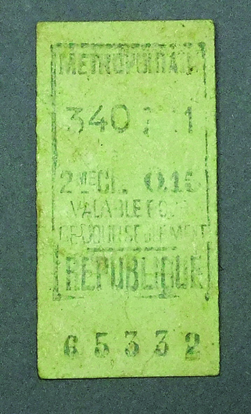 Metro ticket used by Frank Moses whilst on leave in Paris.    On loan from Tim Westle y