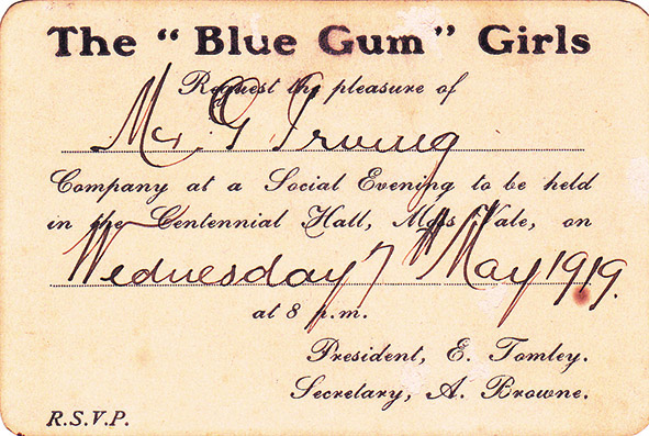 Invitation to attend a Blue Gum Girls social evening  in Moss Vale in May 1919   On loan from Ken Irving, grandson of George Irving