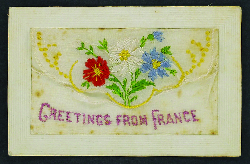 Embroidered card 'Greetings from France' sent  to Ethel Tomley from 'Wally' December 1916   Berrima District Museum Acc ID: 1664  Donated by Meg Bardwell, daughter of Ethel Tomley