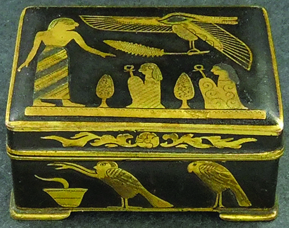 Inlaid brass trinket box crafted in Egypt.  A gift from Nellie to her brother Wilson Holt Morrice.