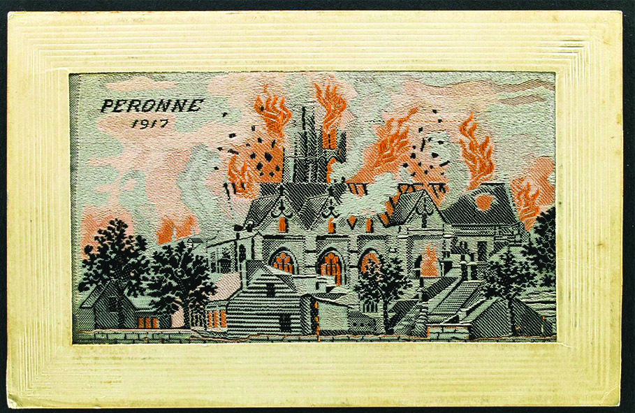 Silk postcard from Peronne, France, 1917.  Acquired by Nellie for family in Australia