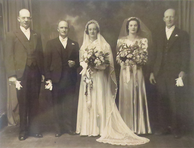 Marriage of Teresa, Dick's 'baby' sister, to John Walker in 1938. The groomsmen are Dick's brothers John and Bill.