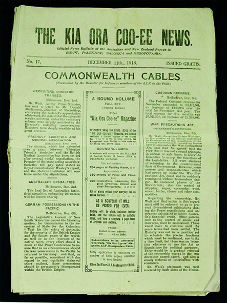 Kia Ora Coo-ee News printed in Cairo for Australian and New Zealand troops