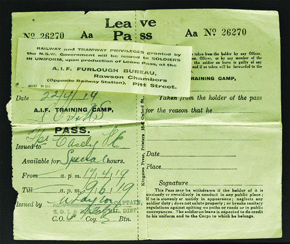 Leave Pass issued to Frank on return to Australia for use prior to discharge