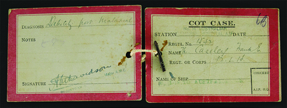 'Cot Case' identifcation tags – Frank had suffered from malaria and was invalided back to Australia on the hospital ship Aneus in January 1919