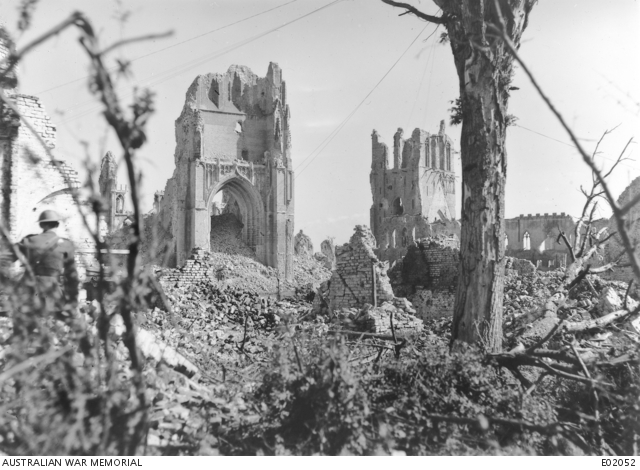 Green bushes and trees still struggling for life in the ravaged city. This is an original Paget Plate negative. Belgium: Western Front (Belgium), Ypres Area, Ypres. September 1917.