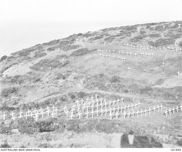 Brown's Dip No 1 and No 2 cemeteries, looking west, No 2 the nearest, after the crosses had been erected by the Graves Registration Unit. Photograph taken on the Gallipoli Peninsula under the direction of Captain C E W Bean of the Australian Historical Mission, during the months of February and March, 1919.