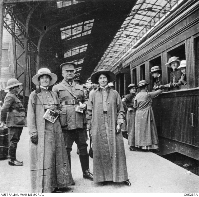 Australian nurses with Captain Robert Ramsay on the platform of Cairo's Ramses Railway Station. Ramsay, a wealthy Victorian grazier who was probably a friend of the photographer, had been commissioned as an automobile corps officer on 1st Division Headquarters after offering to provide his own car. Despite his age, Ramsay saw extensive war service, and after it was over he paid his own way back to Australia.