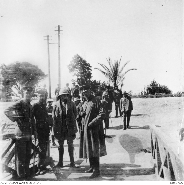 "Major General William Bridges (centre) raised and commanded the 1st Australian Division. Seen here in Egypt, he later took the division to Gallipoli, where he was mortally wounded by a Turkish sniper on 15 May 1915. Charles Ryan attended the general, who knew he was dying: ""Anyhow,"" Bridges confided, ""I have commanded an Australian Division for nine months"". Lieutenant Colonel Brudenell White, Bridges's brilliant senior staff officer (second from left), is with him here."
