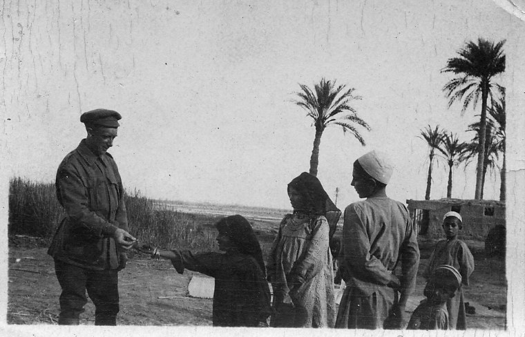 Signaller with Egyptian kids